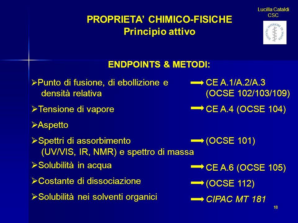 18 Lucilla Cataldi CSC PROPRIETA CHIMICO-FISICHE Principio attivo ENDPOINTS & METODI: Punto di fusione, di ebollizione e densità relativa Tensione di