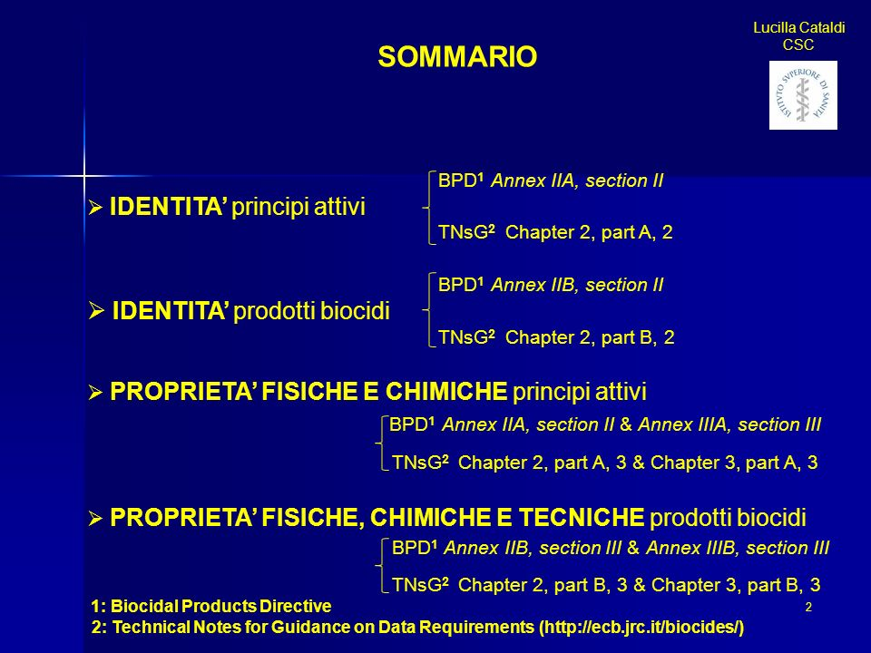 BPD 1 Annex IIA, section II IDENTITA principi attivi TNsG 2 Chapter 2, part A, 2 BPD 1 Annex IIB, section II IDENTITA prodotti biocidi TNsG 2 Chapter