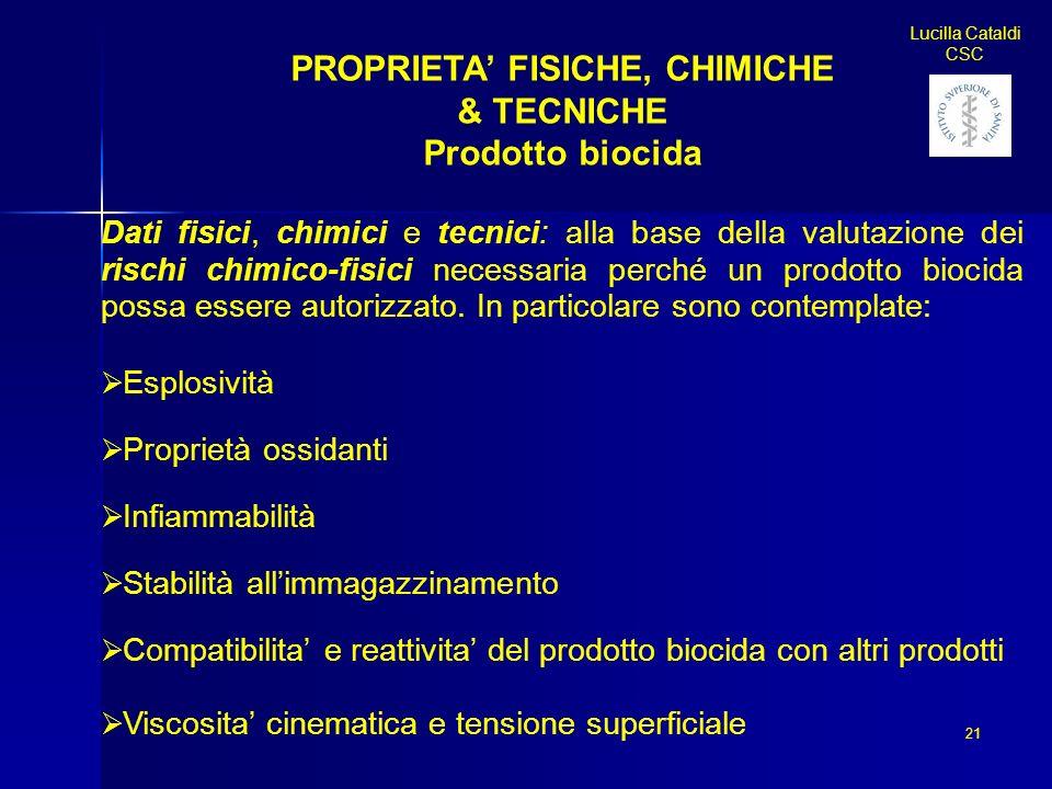 21 Lucilla Cataldi CSC PROPRIETA FISICHE, CHIMICHE & TECNICHE Prodotto biocida Dati fisici, chimici e tecnici: alla base della valutazione dei rischi