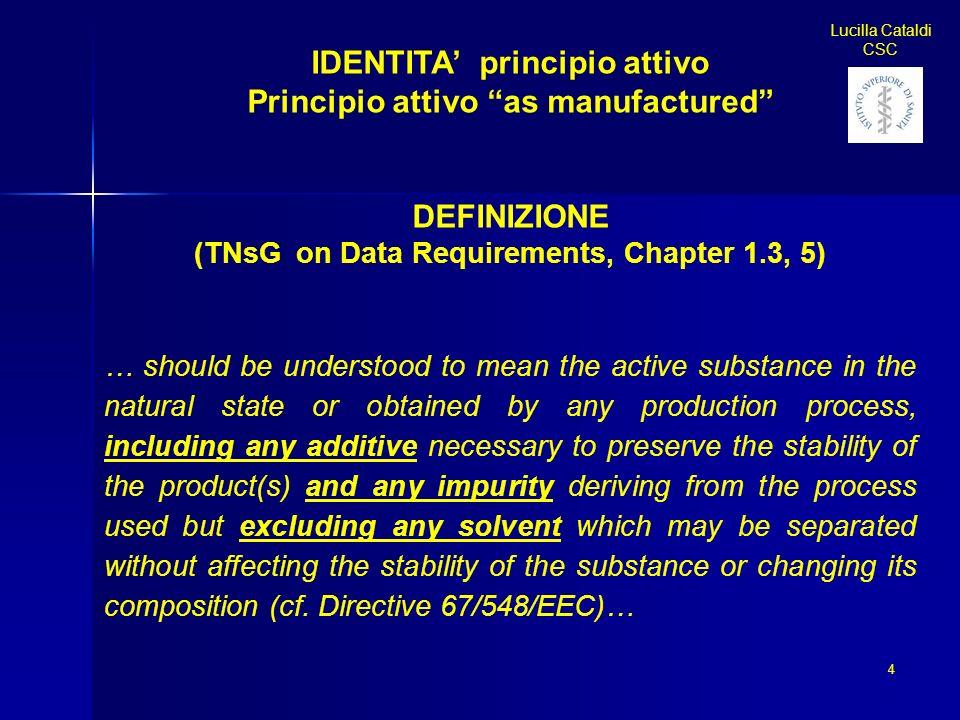 IDENTITA principio attivo Principio attivo as manufactured DEFINIZIONE (TNsG on Data Requirements, Chapter 1.3, 5) … should be understood to mean the