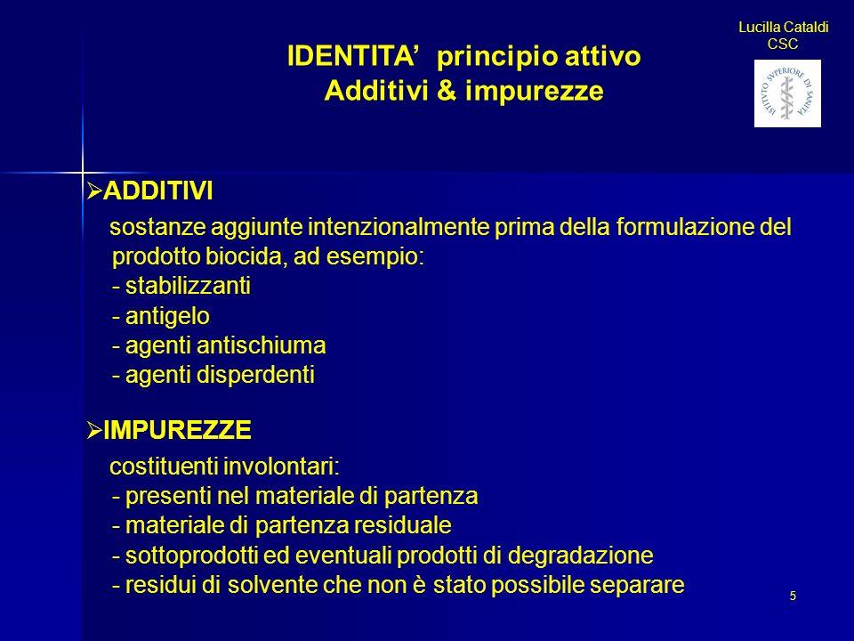 IDENTITA principio attivo Additivi & impurezze ADDITIVI sostanze aggiunte intenzionalmente prima della formulazione del prodotto biocida, ad esempio: