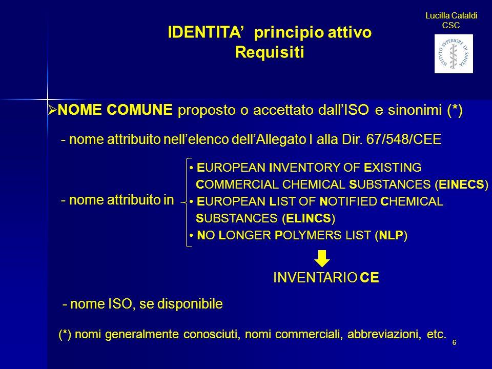 IDENTITA principio attivo Requisiti NOME COMUNE proposto o accettato dallISO e sinonimi (*) - nome attribuito nellelenco dellAllegato I alla Dir. 67/5