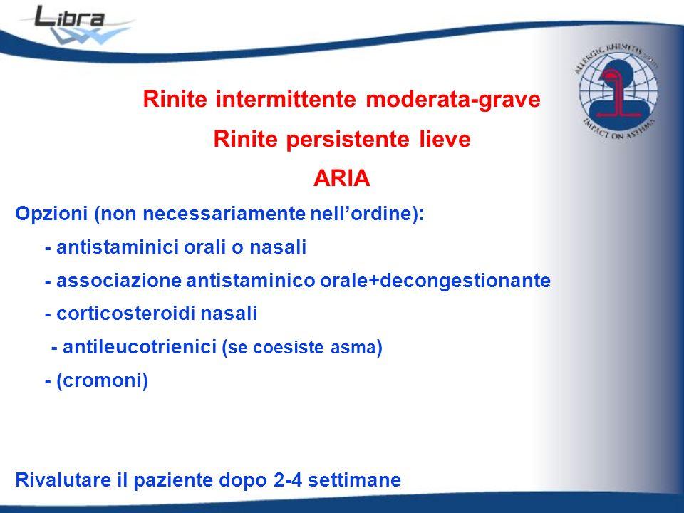 Rinite intermittente moderata-grave Rinite persistente lieve ARIA Opzioni (non necessariamente nellordine): - antistaminici orali o nasali - associazi