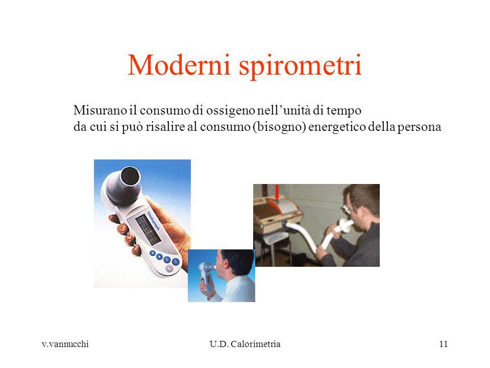 v.vannucchiU.D. Calorimetria11 Moderni spirometri Misurano il consumo di ossigeno nellunità di tempo da cui si può risalire al consumo (bisogno) energ