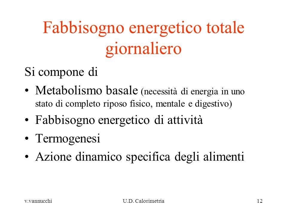 v.vannucchiU.D. Calorimetria12 Fabbisogno energetico totale giornaliero Si compone di Metabolismo basale (necessità di energia in uno stato di complet