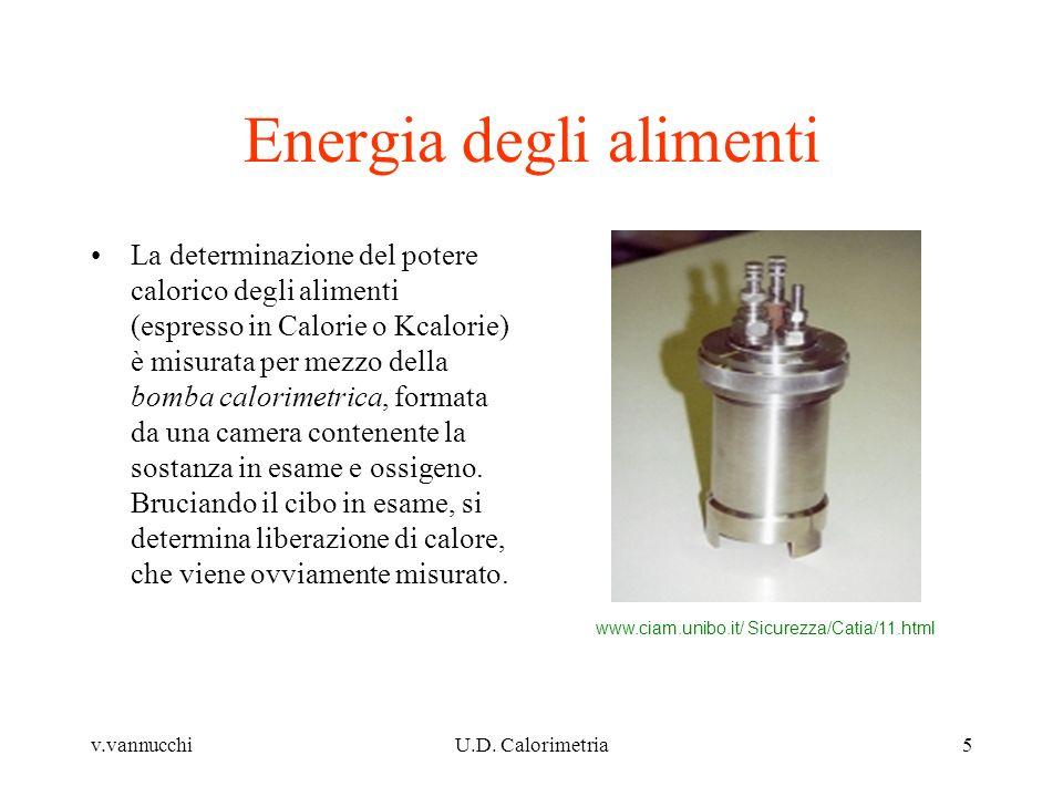 v.vannucchiU.D. Calorimetria5 Energia degli alimenti La determinazione del potere calorico degli alimenti (espresso in Calorie o Kcalorie) è misurata