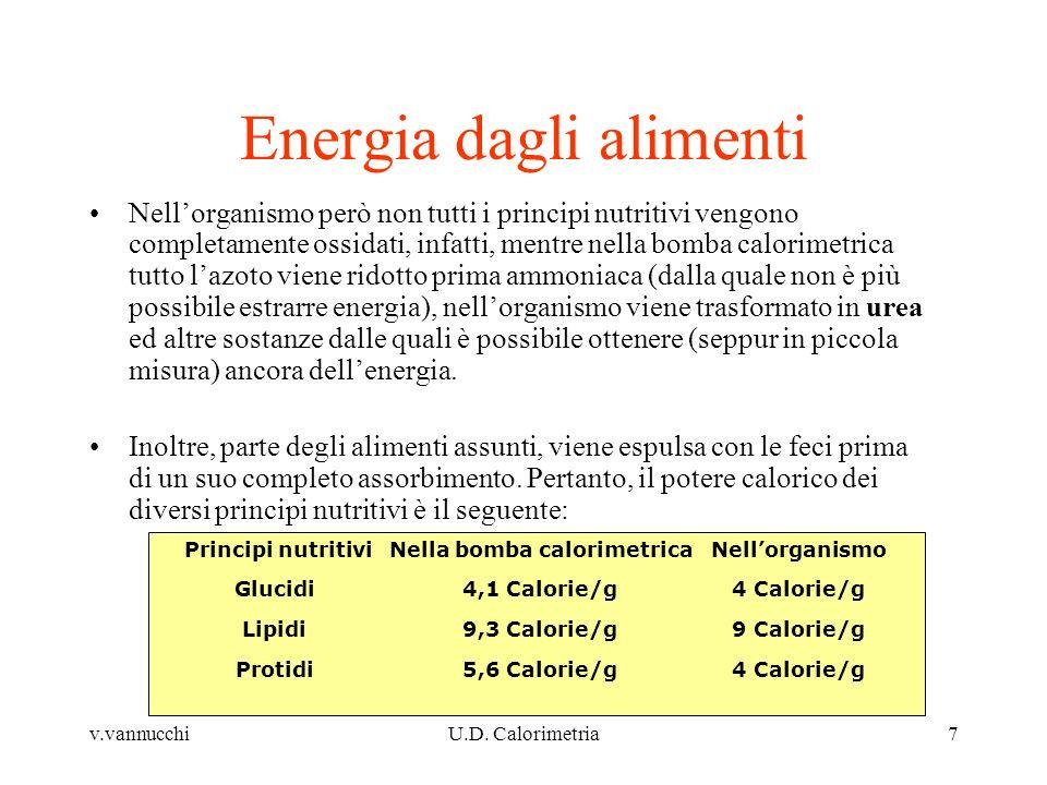 v.vannucchiU.D. Calorimetria7 Energia dagli alimenti Nellorganismo però non tutti i principi nutritivi vengono completamente ossidati, infatti, mentre