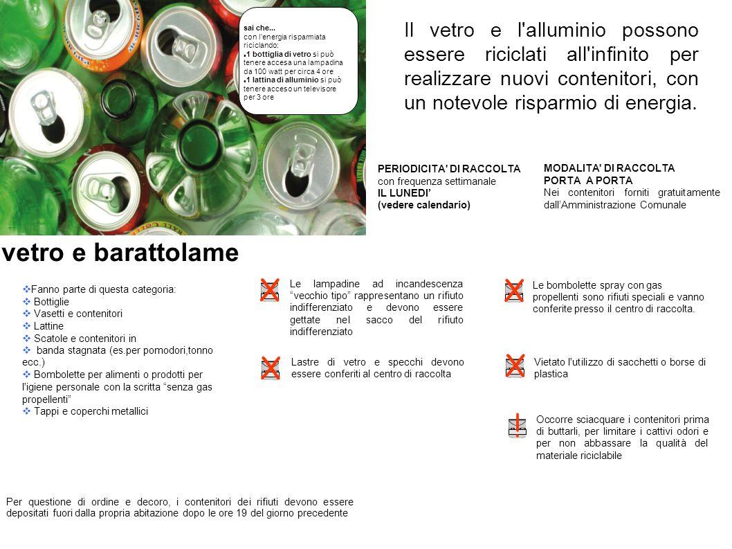 Il vetro e l'alluminio possono essere riciclati all'infinito per realizzare nuovi contenitori, con un notevole risparmio di energia. Fanno parte di qu
