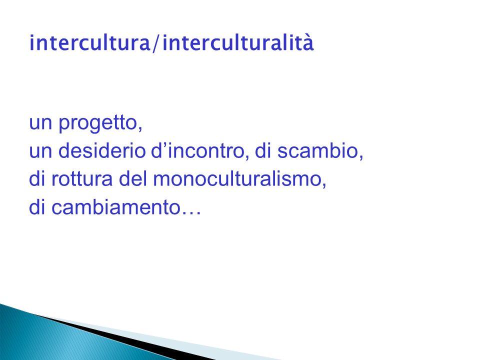 intercultura/interculturalità un progetto, un desiderio dincontro, di scambio, di rottura del monoculturalismo, di cambiamento…