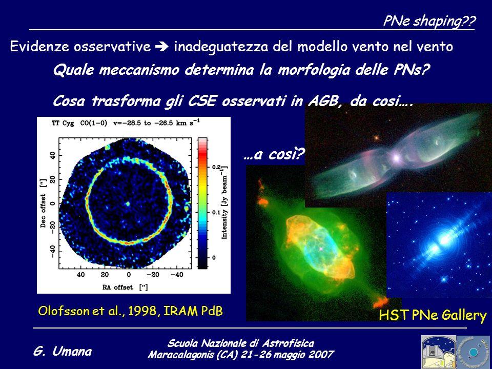 Scuola Nazionale di Astrofisica Maracalagonis (CA) 21-26 maggio 2007 G. Umana PNe shaping?? Evidenze osservative inadeguatezza del modello vento nel v