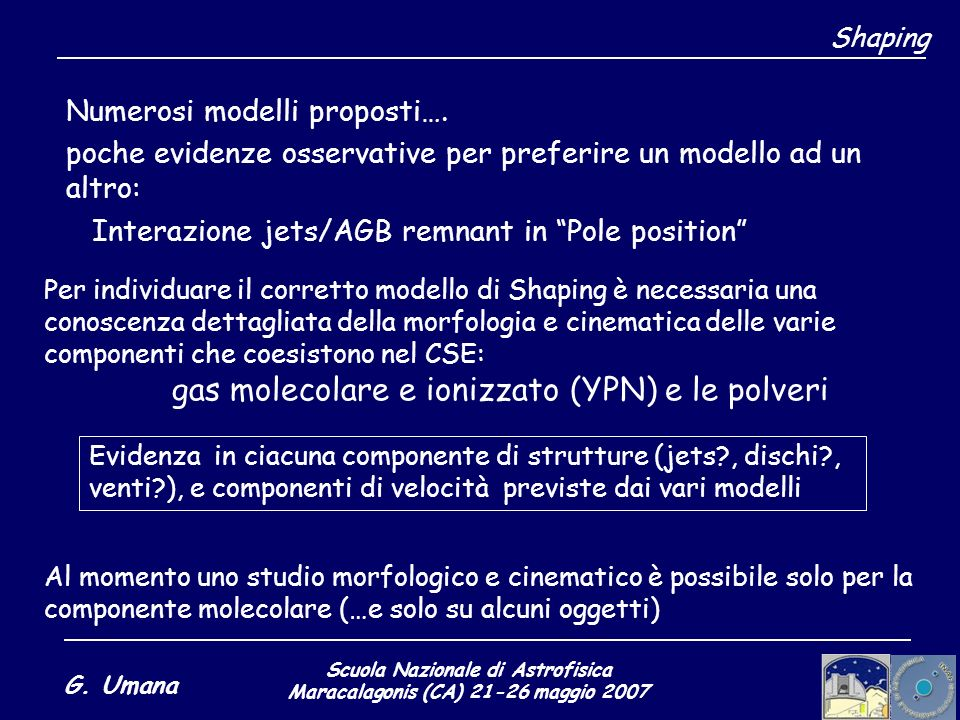 Scuola Nazionale di Astrofisica Maracalagonis (CA) 21-26 maggio 2007 G. Umana Shaping Numerosi modelli proposti…. poche evidenze osservative per prefe