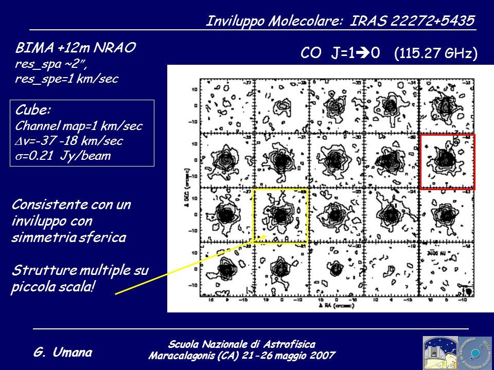 Scuola Nazionale di Astrofisica Maracalagonis (CA) 21-26 maggio 2007 G. Umana Inviluppo Molecolare: IRAS 22272+5435 CO J=1 0 (115.27 GHz) BIMA +12m NR