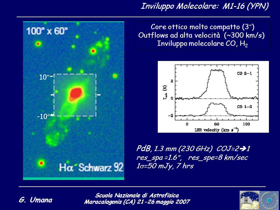 Scuola Nazionale di Astrofisica Maracalagonis (CA) 21-26 maggio 2007 G. Umana Inviluppo Molecolare: M1-16 (YPN) - 10 - - - -10 - Core ottico molto com