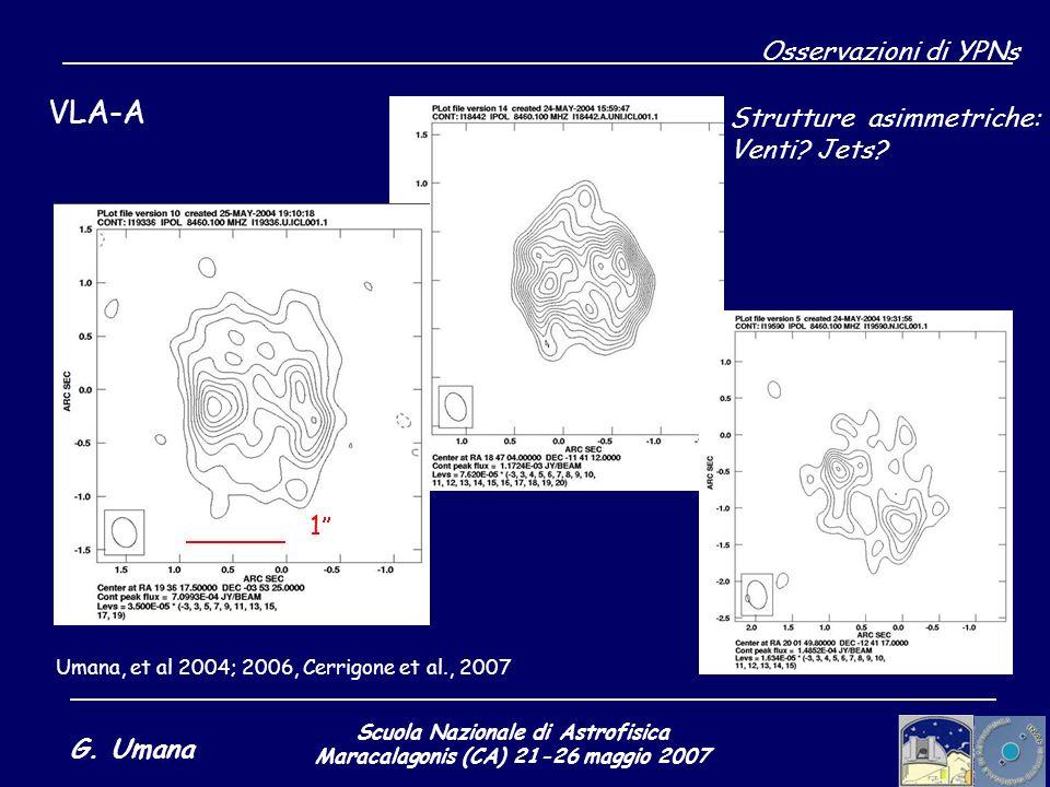Scuola Nazionale di Astrofisica Maracalagonis (CA) 21-26 maggio 2007 G. Umana Osservazioni di YPNs VLA-A Umana, et al 2004; 2006, Cerrigone et al., 20