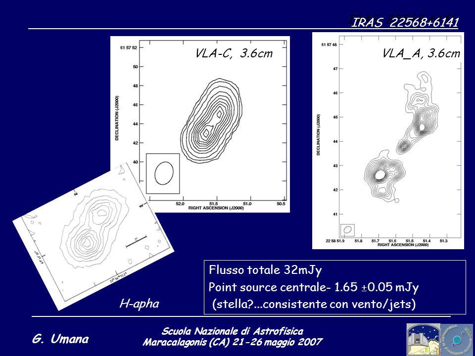 Scuola Nazionale di Astrofisica Maracalagonis (CA) 21-26 maggio 2007 G. Umana IRAS 22568+6141: H-apha IRAS 22568+6141 Flusso totale 32mJy Point source