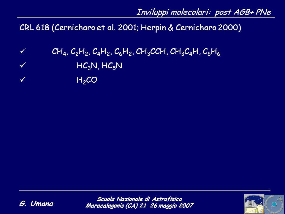 Scuola Nazionale di Astrofisica Maracalagonis (CA) 21-26 maggio 2007 G. Umana Inviluppi molecolari: post AGB+ PNe CRL 618 (Cernicharo et al. 2001; Her