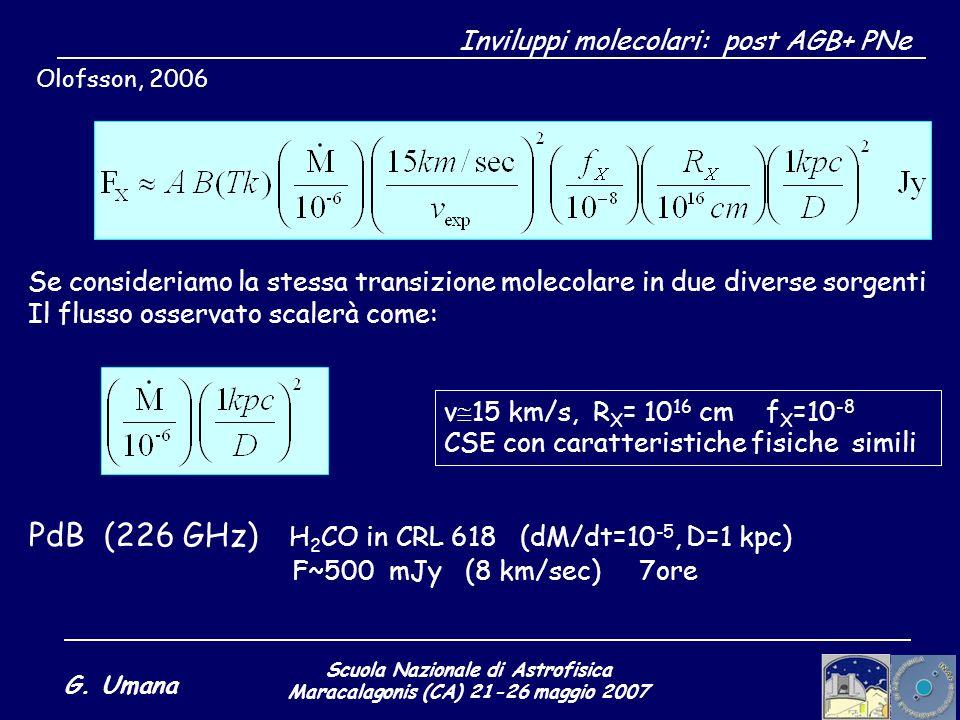 Scuola Nazionale di Astrofisica Maracalagonis (CA) 21-26 maggio 2007 G. Umana Olofsson, 2006 v 15 km/s, R X = 10 16 cm f X =10 -8 CSE con caratteristi