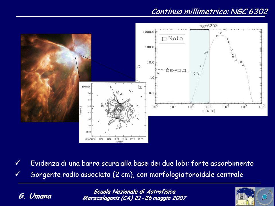 Scuola Nazionale di Astrofisica Maracalagonis (CA) 21-26 maggio 2007 G. Umana Continuo millimetrico: NGC 6302 Evidenza di una barra scura alla base de