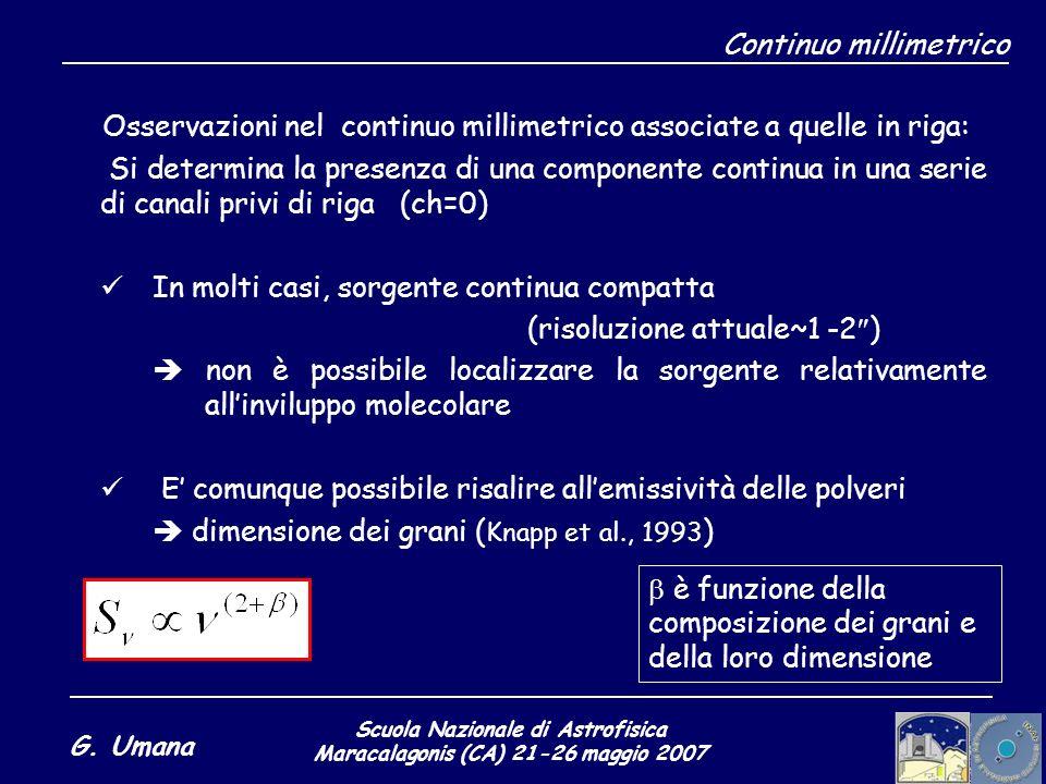 Scuola Nazionale di Astrofisica Maracalagonis (CA) 21-26 maggio 2007 G. Umana Continuo millimetrico Osservazioni nel continuo millimetrico associate a