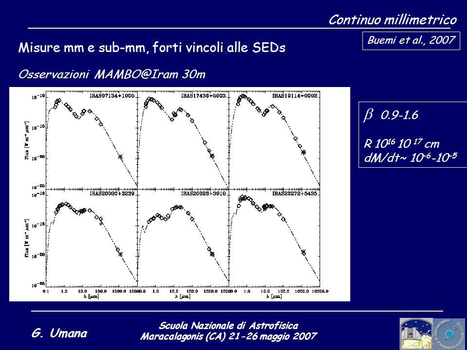 Scuola Nazionale di Astrofisica Maracalagonis (CA) 21-26 maggio 2007 G. Umana Continuo millimetrico Misure mm e sub-mm, forti vincoli alle SEDs Buemi