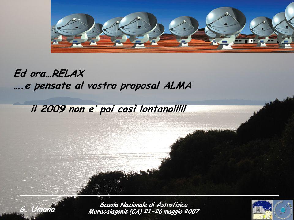 Scuola Nazionale di Astrofisica Maracalagonis (CA) 21-26 maggio 2007 G. Umana Ed ora…RELAX ….e pensate al vostro proposal ALMA il 2009 non e poi così