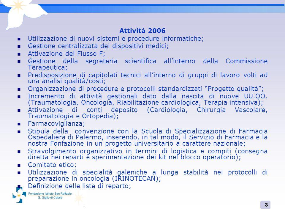 3 Attività 2006 Utilizzazione di nuovi sistemi e procedure informatiche; Gestione centralizzata dei dispositivi medici; Attivazione del Flusso F; Gest