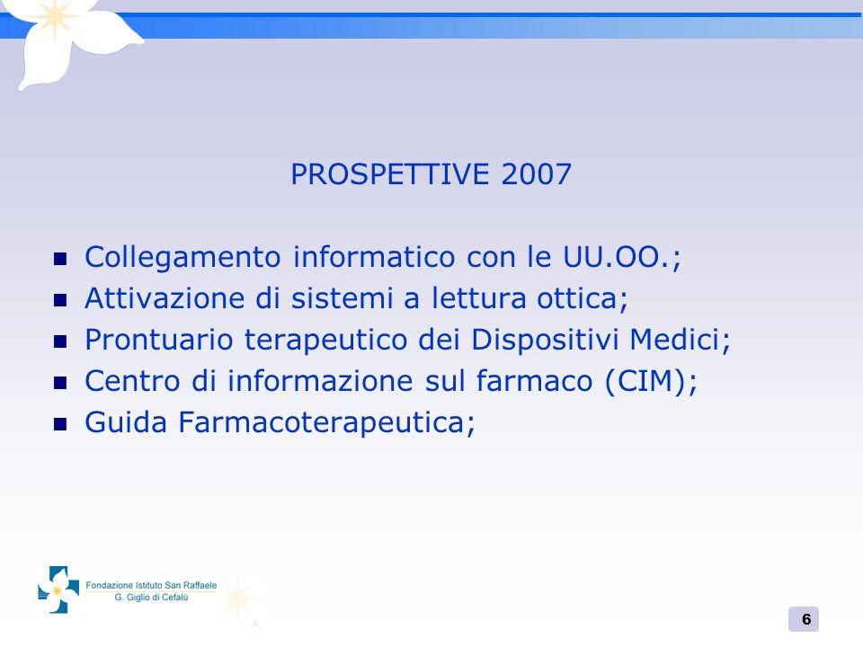 6 PROSPETTIVE 2007 Collegamento informatico con le UU.OO.; Attivazione di sistemi a lettura ottica; Prontuario terapeutico dei Dispositivi Medici; Cen