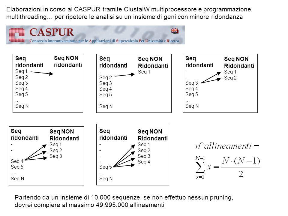 Elaborazioni in corso al CASPUR tramite ClustalW multiprocessore e programmazione multithreading… per ripetere le analisi su un insieme di geni con mi