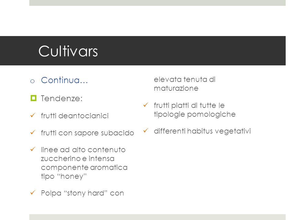 Cultivars o Continua… Tendenze: frutti deantocianici frutti con sapore subacido linee ad alto contenuto zuccherino e intensa componente aromatica tipo