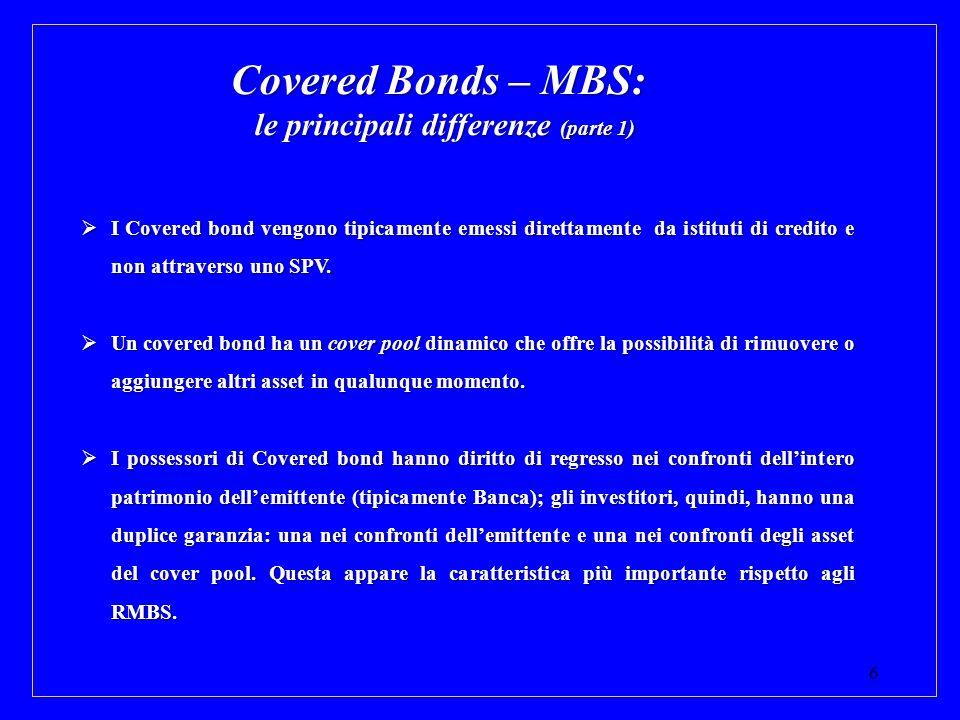 6 Covered Bonds – MBS: le principali differenze (parte 1) I Covered bond vengono tipicamente emessi direttamente da istituti di credito e non attraver