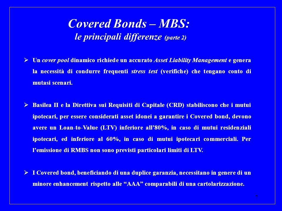 7 Covered Bonds – MBS: le principali differenze (parte 2) Un cover pool dinamico richiede un accurato Asset Liability Management e genera la necessità