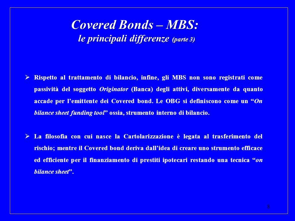 8 Covered Bonds – MBS: le principali differenze (parte 3) Rispetto al trattamento di bilancio, infine, gli MBS non sono registrati come passività del
