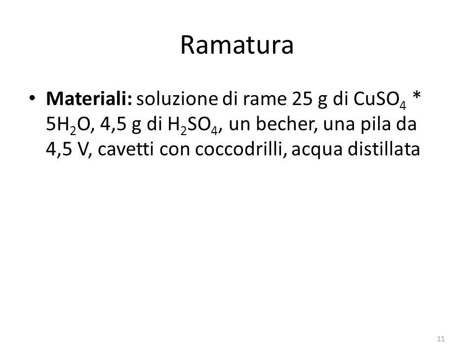 Ramatura Materiali: soluzione di rame 25 g di CuSO 4 * 5H 2 O, 4,5 g di H 2 SO 4, un becher, una pila da 4,5 V, cavetti con coccodrilli, acqua distillata 11