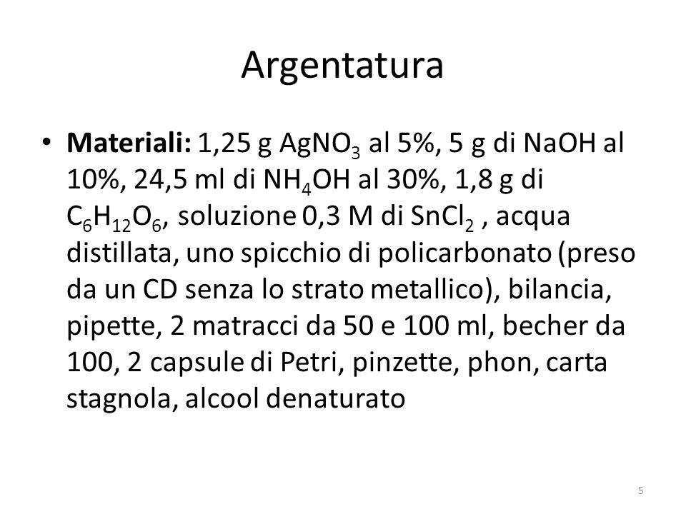 Argentatura Materiali: 1,25 g AgNO 3 al 5%, 5 g di NaOH al 10%, 24,5 ml di NH 4 OH al 30%, 1,8 g di C 6 H 12 O 6, soluzione 0,3 M di SnCl 2, acqua distillata, uno spicchio di policarbonato (preso da un CD senza lo strato metallico), bilancia, pipette, 2 matracci da 50 e 100 ml, becher da 100, 2 capsule di Petri, pinzette, phon, carta stagnola, alcool denaturato 5