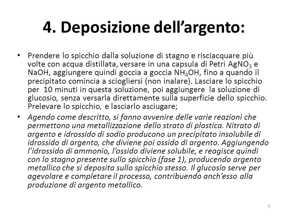 4. Deposizione dellargento: Prendere lo spicchio dalla soluzione di stagno e risciacquare più volte con acqua distillata, versare in una capsula di Pe