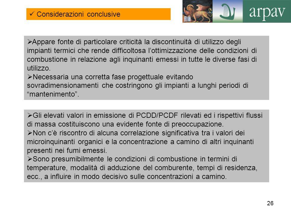 26 Considerazioni conclusive Appare fonte di particolare criticità la discontinuità di utilizzo degli impianti termici che rende difficoltosa lottimiz