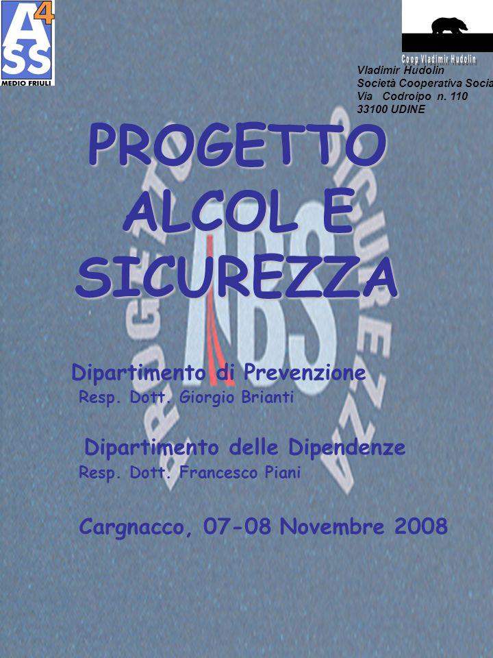 PROGETTO ALCOL E SICUREZZA Dipartimento di Prevenzione Resp. Dott. Giorgio Brianti Dipartimento delle Dipendenze Resp. Dott. Francesco Piani Cargnacco
