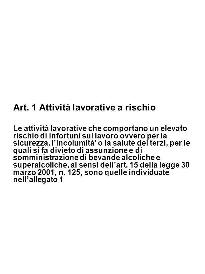 Art. 1 Attività lavorative a rischio Le attività lavorative che comportano un elevato rischio di infortuni sul lavoro ovvero per la sicurezza, lincolu