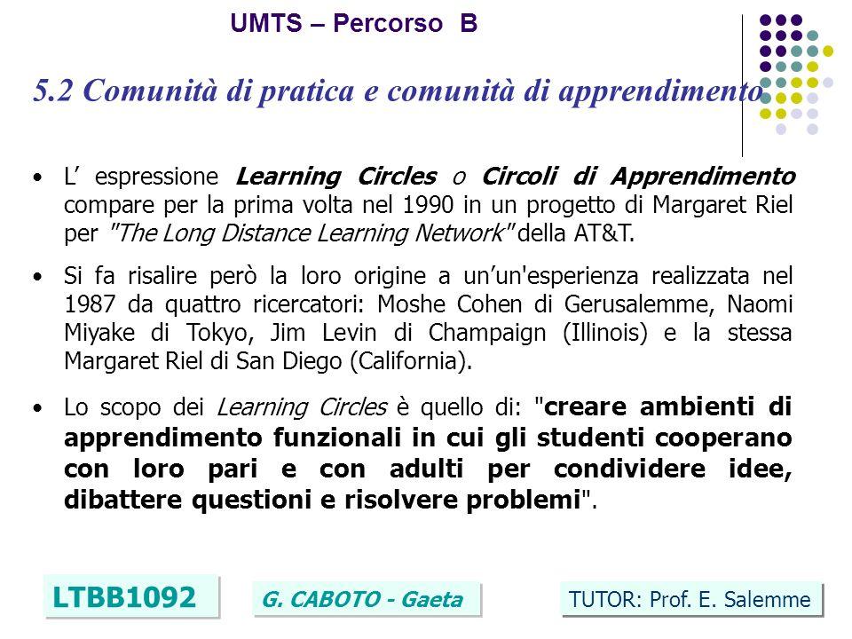 13 UMTS – Percorso B LTBB1092 G. CABOTO - Gaeta TUTOR: Prof. E. Salemme 5.2 Comunità di pratica e comunità di apprendimento L espressione Learning Cir