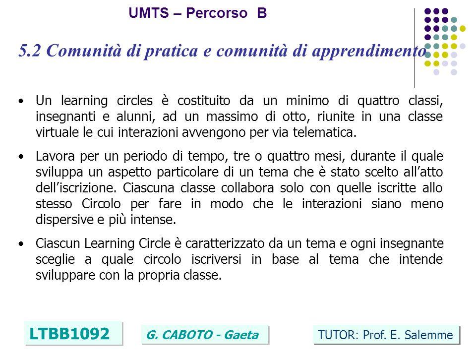 14 UMTS – Percorso B LTBB1092 G. CABOTO - Gaeta TUTOR: Prof. E. Salemme 5.2 Comunità di pratica e comunità di apprendimento Un learning circles è cost