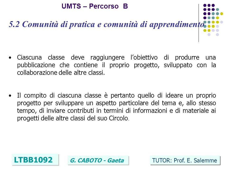 15 UMTS – Percorso B LTBB1092 G. CABOTO - Gaeta TUTOR: Prof.
