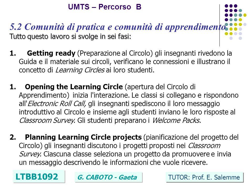 16 UMTS – Percorso B LTBB1092 G. CABOTO - Gaeta TUTOR: Prof. E. Salemme 5.2 Comunità di pratica e comunità di apprendimento Tutto questo lavoro si svo