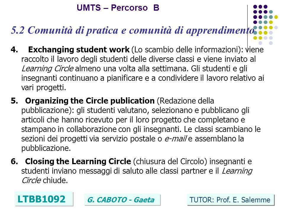 17 UMTS – Percorso B LTBB1092 G. CABOTO - Gaeta TUTOR: Prof. E. Salemme 5.2 Comunità di pratica e comunità di apprendimento 4. Exchanging student work