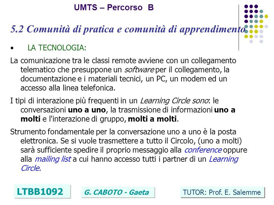 19 UMTS – Percorso B LTBB1092 G. CABOTO - Gaeta TUTOR: Prof. E. Salemme 5.2 Comunità di pratica e comunità di apprendimento LA TECNOLOGIA: La comunica