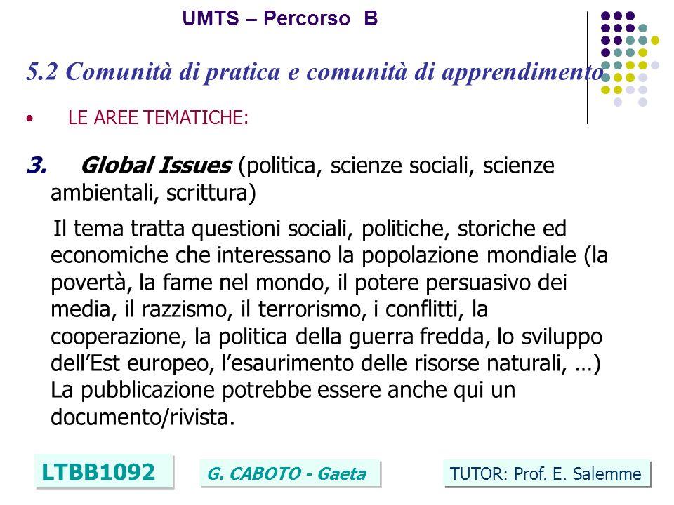 23 UMTS – Percorso B LTBB1092 G. CABOTO - Gaeta TUTOR: Prof. E. Salemme 5.2 Comunità di pratica e comunità di apprendimento LE AREE TEMATICHE: 3. Glob