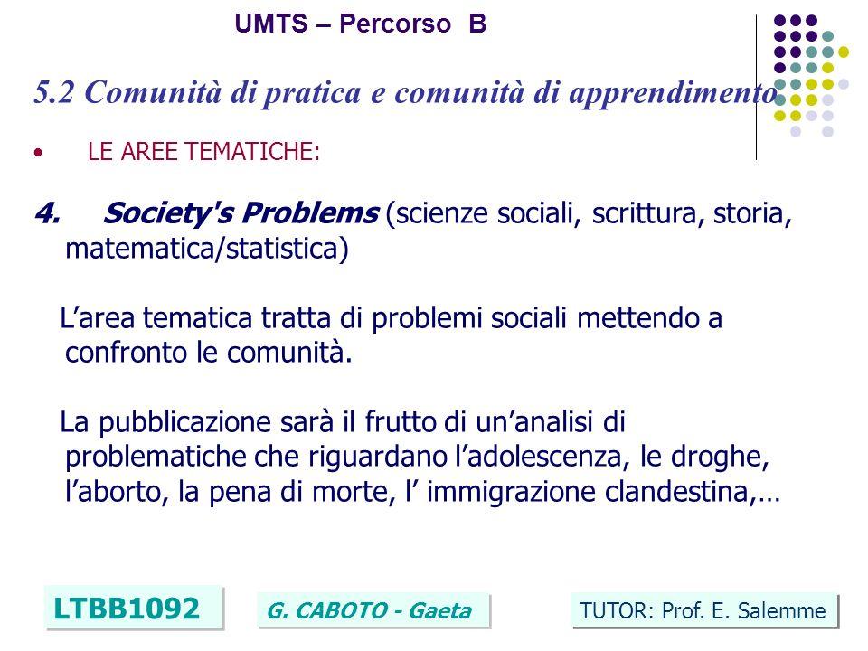 24 UMTS – Percorso B LTBB1092 G. CABOTO - Gaeta TUTOR: Prof. E. Salemme 5.2 Comunità di pratica e comunità di apprendimento LE AREE TEMATICHE: 4. Soci