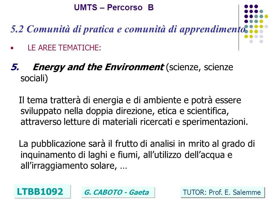 25 UMTS – Percorso B LTBB1092 G. CABOTO - Gaeta TUTOR: Prof. E. Salemme 5.2 Comunità di pratica e comunità di apprendimento LE AREE TEMATICHE: 5. Ener