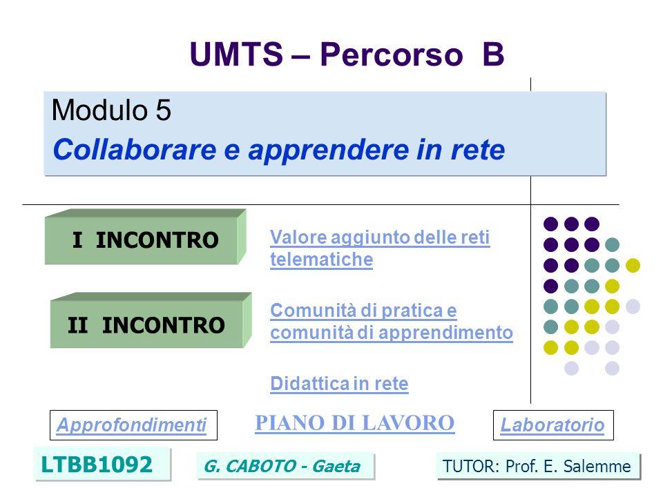 4 UMTS – Percorso B LTBB1092 G.CABOTO - Gaeta TUTOR: Prof.