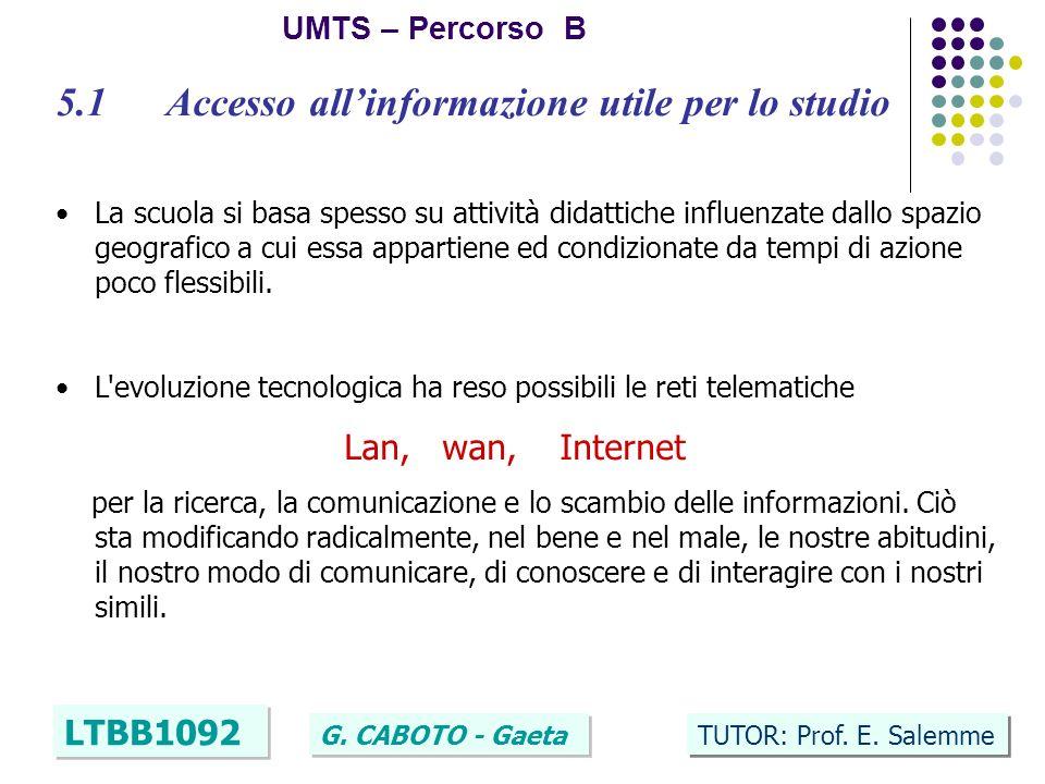 4 UMTS – Percorso B LTBB1092 G. CABOTO - Gaeta TUTOR: Prof.