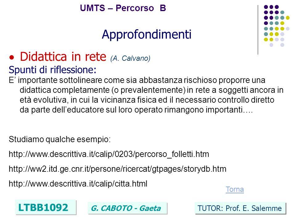 40 UMTS – Percorso B LTBB1092 G. CABOTO - Gaeta TUTOR: Prof. E. Salemme Approfondimenti Didattica in rete (A. Calvano) Spunti di riflessione: E import